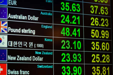 currency exchange: currency exchange on digital LED blackboard, can use as background and financial concept