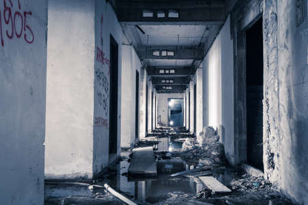 hallway walkway abandoned building can use horror movie scene background photo