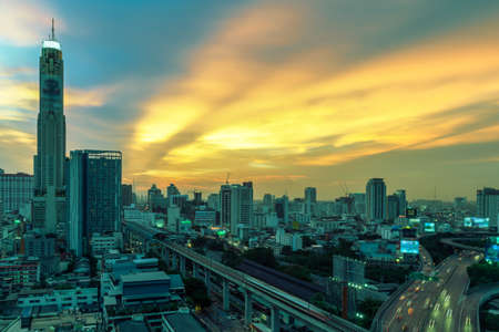 Business Building Bangkok city area at night life with transportation way logistic concept high angle bird eyes view Stock Photo