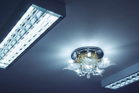 crystal chandelier: Crystal chandelier ceiling and neon lighting Stock Photo