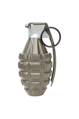 frag: MK2 FRAG explosive model, weapon army,standard timed fuze hand grenade on white background Stock Photo