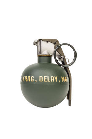 M67 FRAG, weapon army,standard timed fuze hand grenade on white background