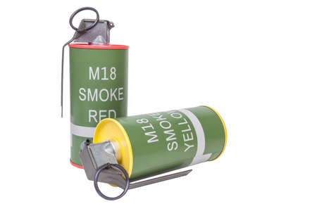 M18 Smoke Red and Yellow explosive model, weapon army,standard timed fuze hand grenade on white background