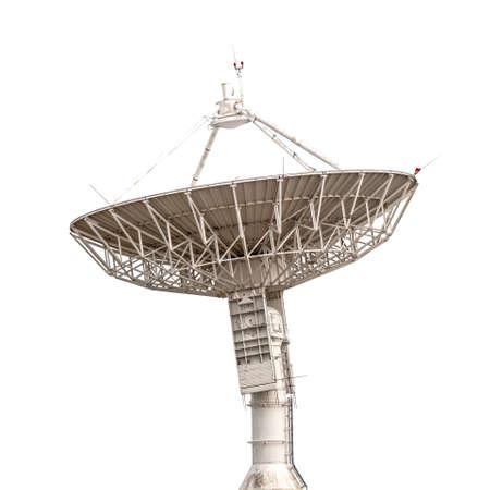 antena parabolica: antena parabólica de radar de la antena del tamaño grande aislado en el fondo blanco
