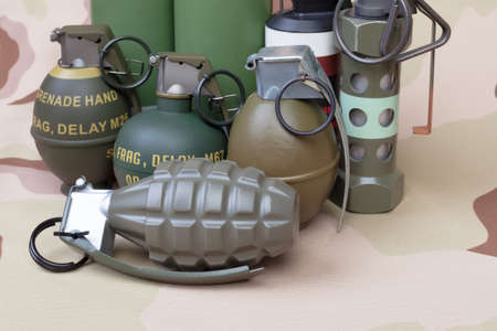 explosives: All explosives, weapon army,standard time fuze, hand grenade on camouflage background