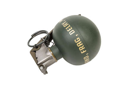 frag: M67 FRAG, weapon army,standard timed fuze hand grenade on white background