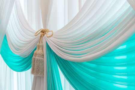 yellow tassel: Luxury sweet white and blue curtain and tassel