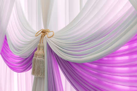 tassel: Luxury sweet white and violet curtain and tassel