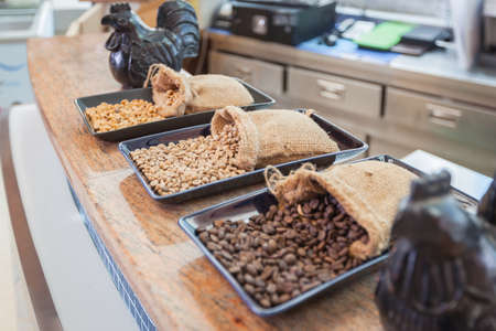 finite: sack of coffee grains on table