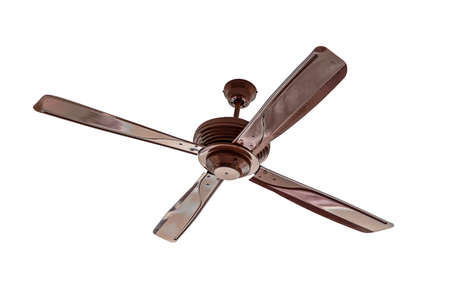 ceiling: Four blades brown Ceiling fan isolated