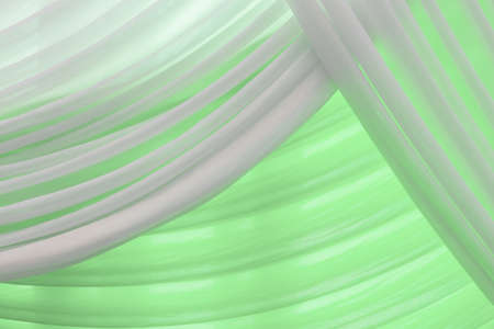 yellow tassel: Luxury sweet white and green or aqua curtain Stock Photo