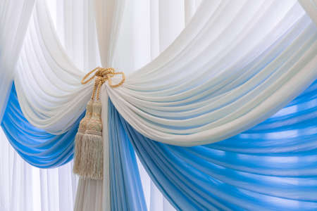 blue curtain: Luxury sweet white and blue curtain and tassel