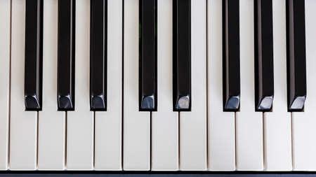 hymnal: Piano Keyboard synthesizer closeup key top view