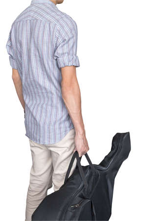 strip shirt: stylish young asian hipster man wear scott strip shirt, hold guitar bag, for concert travelling music concept, on white background Stock Photo