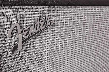 fender: BANGKOK, THAILAND - AUGUST 4 : Fender Logo on Guitar Power Amplifier as vintage background music theme, Bangkok, Thailand on 4 August 2015