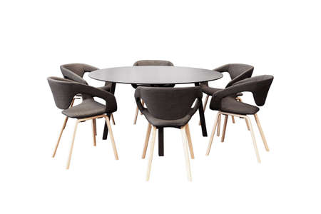 front desk: meeting round table and black office chairs for conference, isolated on white background