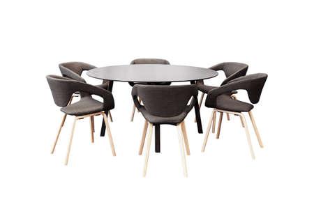 vergadering ronde tafel en zwarte bureaustoelen voor de conferentie, die op een witte achtergrond