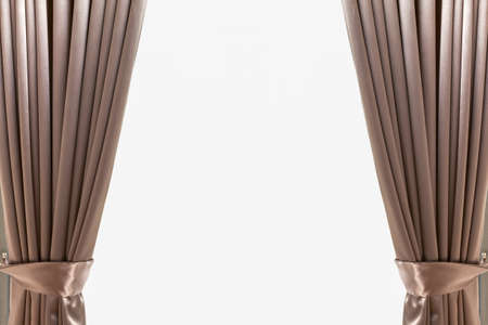 curtain background: Luxury brown leather curtain background Stock Photo