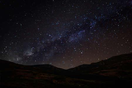 Milky Way Galaxy over mountain at Khao Kho National Park, Phetchabun province