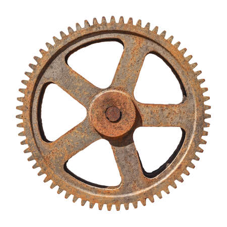 large gear wheel cogs rusty on white background Stock Photo
