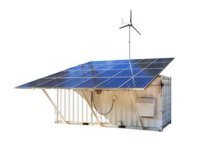 produce energy: Solar cell Panels and wind turbine, produce power, green energy concept