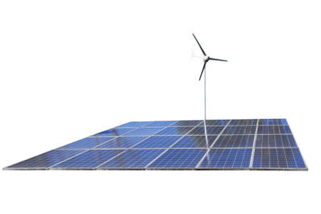 clean energy: Solar cell Panels and wind turbine, produce power, green energy concept, isolated on white background