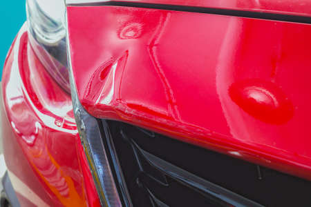 fender bender: red car crash in accident, background Stock Photo