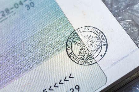 passport stamp: Passport stamp visa for travel concept background, Paris France