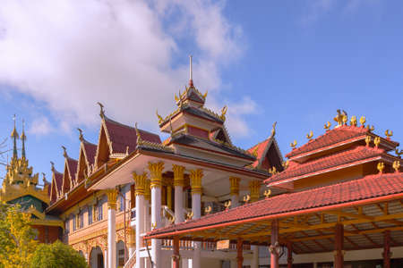sangkhla buri: Wat Wang Wiwekaram, most revered Buddhist temple in Sangkhla Buri district in Sangkhlaburi District, Kanchanaburi Thailand Stock Photo