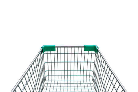 empty shopping cart: rear view of empty shopping cart isolated on white background