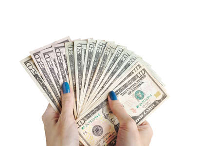 pay bill: Money in the hand, Hand with money, Hand holding Banknotes and counting for give or pay bill, can use as financial or business on white background Stock Photo