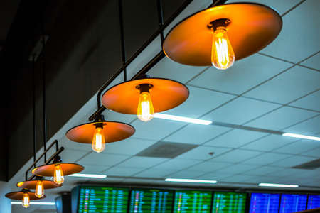 lamp ceiling or bulb lighting, retro lighting installed on ceiling can use as background