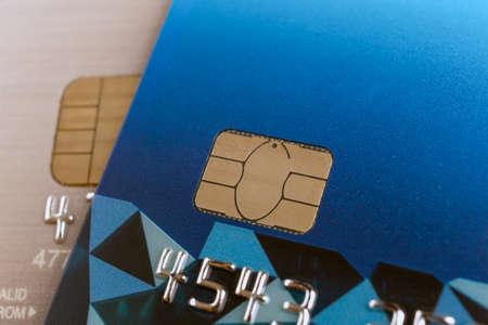 smart card: credit card or bank card or smart card closeup macro shot