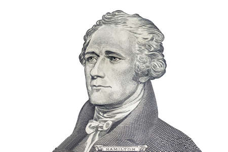 alexander hamilton: Alexander Hamilton face on US ten or 10 dollars bill macro, united states money closeup on white background