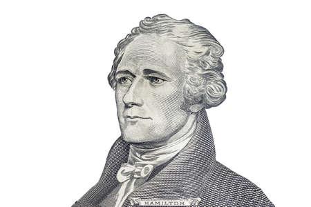"""alexander hamilton: """"Alexander Hamilton"""" volto su di noi dieci o 10 dollari fattura macro, Stati Uniti denaro alzato su sfondo bianco"""