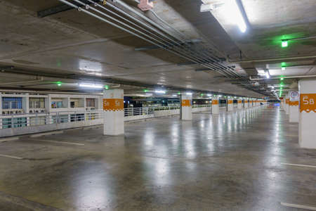 parking facilities: Empty car parking with green light notified, can use as background Editorial
