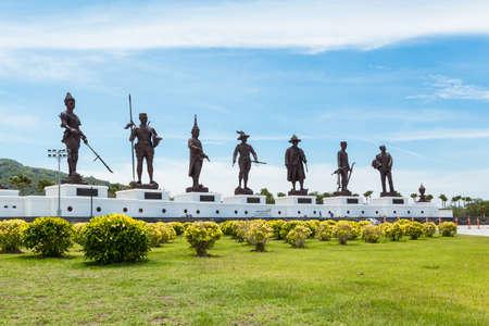Prachuap Khiri Khan - July 15 : Seven statues of Thai great kings at Raja Bhakti park, landmark and most popular in Hua Hin beach on July 15, 2016 in Prachuap Khiri Khan Thailand, panorama view Editorial