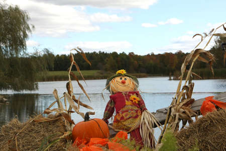 lake shore: Halloween Decoration On Lake Shore On Fall Day
