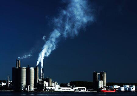 Industrial harbour scenery from Aalborg, Denmark Stock Photo
