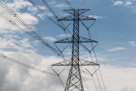 megawatt: High voltage pole blue sky and cloud Stock Photo