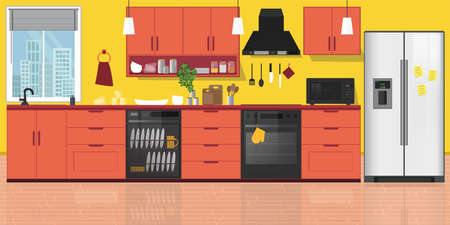 Modern kitchen Interior, with furniture. Flat style vector illustration. Cozy home interior style.