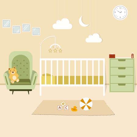 Cozy Nursery interior, baby room, flat style vector illustration template