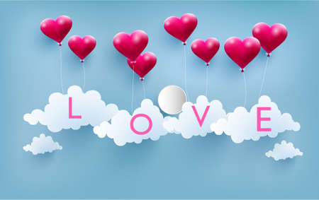 Happy Valentine illustration love balloons with beautiful shapes. The beauty of a love balloon above the clouds.