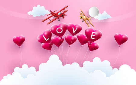 Illustration of love, happy valentines day. There are planes across the balloon