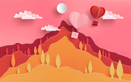 illustrations of love and valentine's day. there is a picture of a hill and a red air balloon as a symbol of love. paper art design Иллюстрация