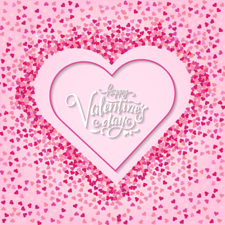 Happy valentines day and weeding design elements. Vector illustration. Pink Background With Ornaments, Hearts. Doodles and curls. Be my Valentine