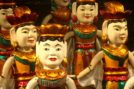 Traditional Vietnamese water puppets show in Hanoi, Vietnam.