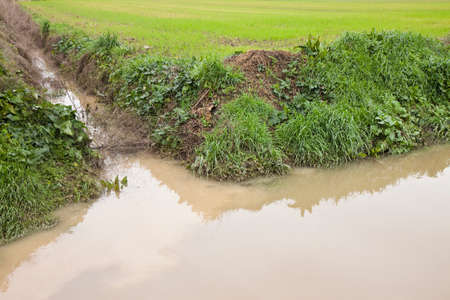 Ditch in a field after the rain photo