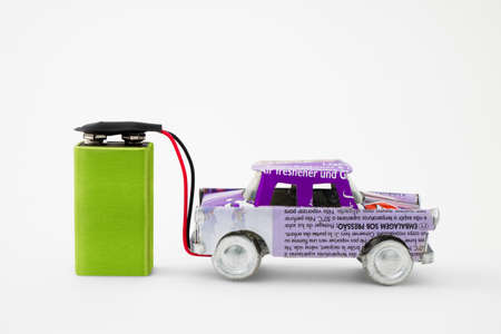 environmental conservation: Recycled electric car Stock Photo