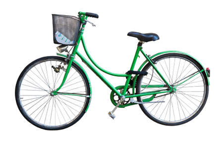 small basket: Old green bicycle whit basket